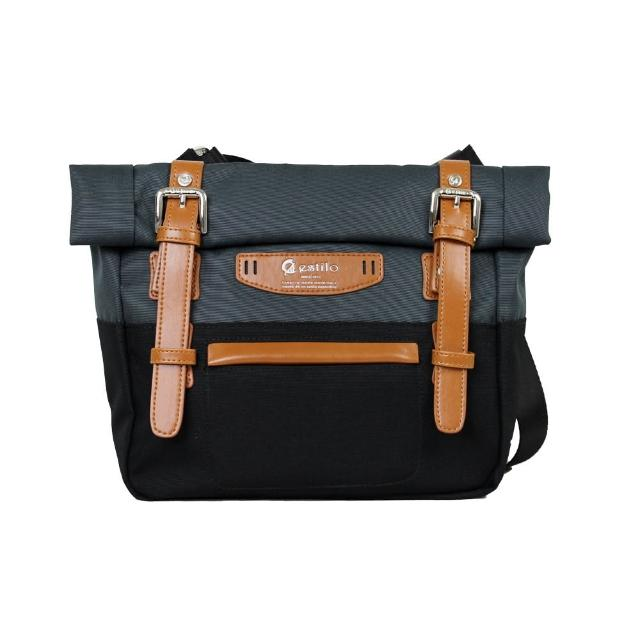 【estilo】時尚玩色系列 撞色設計 小型斜背包(黑)