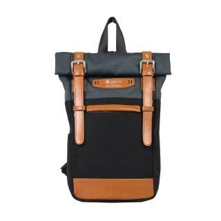 【estilo】時尚玩色系列 撞色設計 兩用單肩包/後背包(黑)