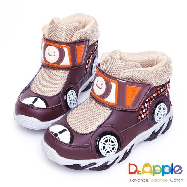 【Dr. Apple 機能童鞋】超拉風急速賽車手中筒保暖童靴(咖)