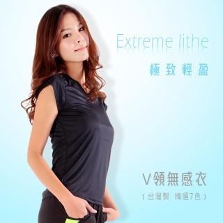 【HODARLA】女無感V領短T恤-慢跑 路跑 休閒(黑)