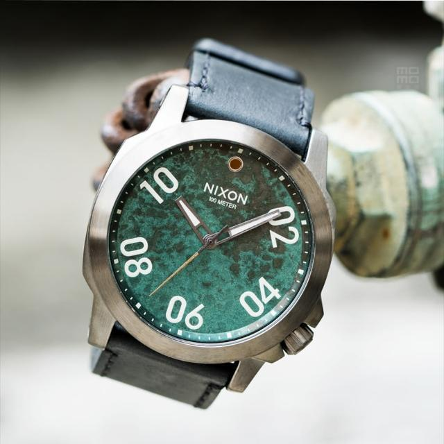 【NIXON】Ranger 45 Leather 軍事戰略潮流設計腕錶-仿舊錶盤(A466-2069)