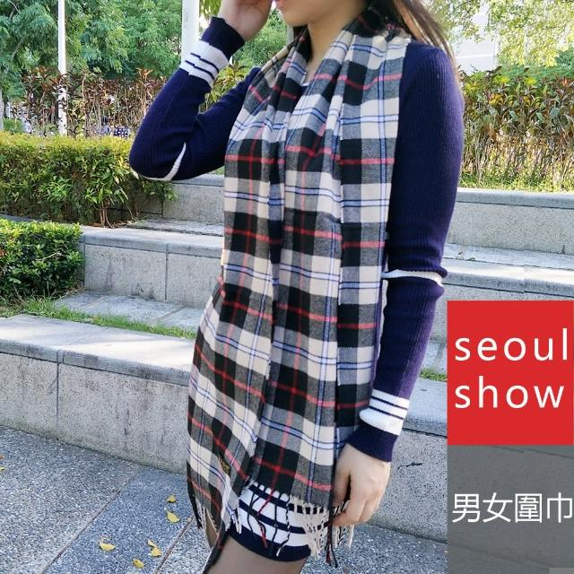 【Seoul Show首爾秀】男女經典條格紋仿羊絨圍巾披肩 卡其 紅線黑線格(防寒保暖)