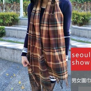 【Seoul Show首爾秀】男女經典條格紋仿羊絨圍巾披肩 咖啡 綠駝線(防寒保暖)