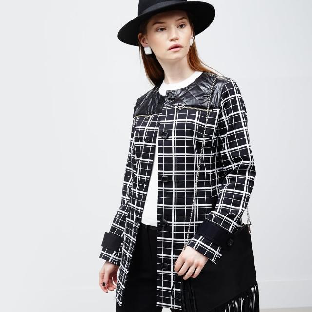 【ICHE 衣哲】黑白格紋絎縫大衣外套促銷商品