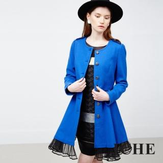 【ICHE 衣哲】羊毛拼接長版洋裝外套