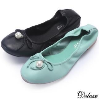 【Deluxe】全真皮氣質小巧蝴蝶珍珠平底娃娃鞋(黑★綠)