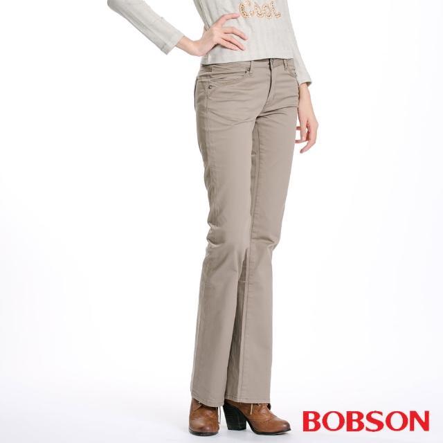 【BOBSON】女款後袋刺繡小喇叭褲(卡其9066-75)