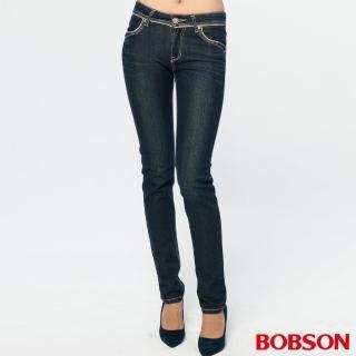【BOBSON】女款銀色出芽小直筒褲(藍8022-53)