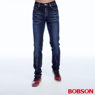 ~BOBSON~男款刷銀漆伸縮直筒褲 藍1778~53