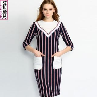 【a la mode 艾拉摩兒】紅藍條紋撞色拼接圓領七分袖口袋洋裝連衣裙(S-XL)