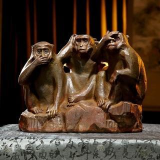 薪傳獎銅雕大師蕭啟郎-三禮猴