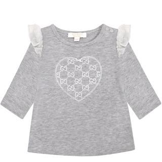 【GUCCI】雙G愛心圖樣嬰幼兒長袖上衣-3/6MONTHS(藍色)