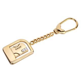 【BALLY】經典LOGO圓角長方形鑰匙圈吊飾(金色)