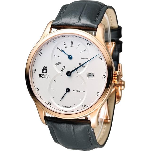 【Ernest Borel 依波路】雋永三針一線機械腕錶(GGR8880R1-28651BK 玫瑰金色)