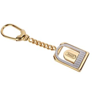 【BALLY】經典LOGO波浪紋裝飾造形鑰匙圈吊飾(金色)