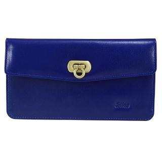 【Sika】義大利時尚真皮素面扣式長夾(A8279-05亮寶藍)