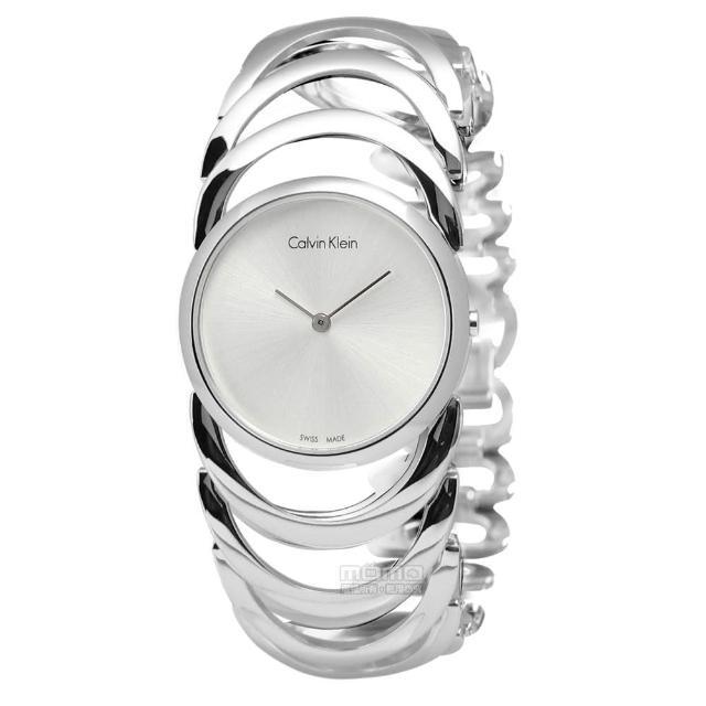 【Calvin Klein】BODY鍊戀時空經典手鍊式不鏽鋼腕錶 白色 30mm(K4G23126)