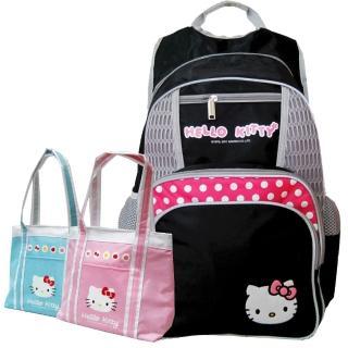 【Hello Kitty 凱蒂貓】(1+1)時尚休閒書背包+保溫保冷袋(黑色 KT4374_3902)