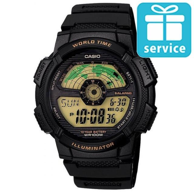 【CASIO】飛行時光地圖錶(AE-1100W-1B)