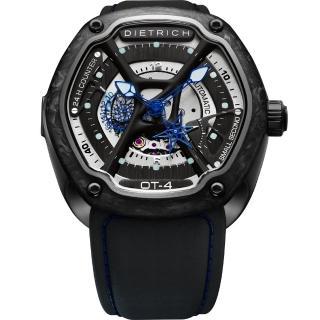 【DIETRICH】OT系列 生化機械碳纖維鏤空腕錶-黑x藍指針/46mm(OT-4)