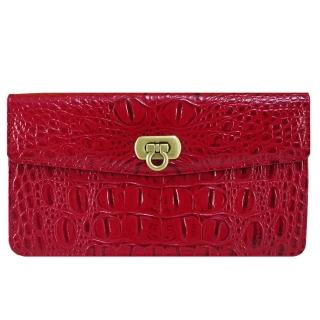 【Sika】義大利時尚真皮鱷魚紋扣式長夾(S8279-04魅惑紅)