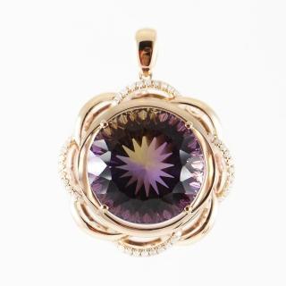 【金郁豐】耀眼奪目天然紫黃晶18k厚金花型項鍊