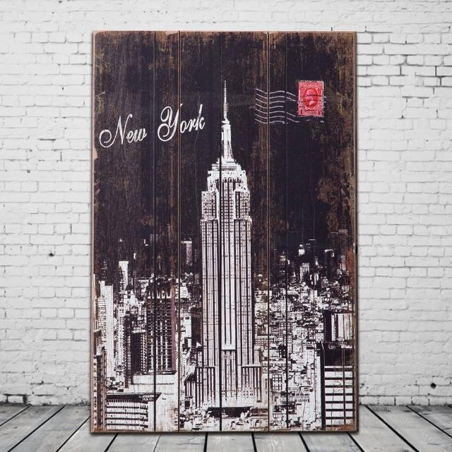 【OPUS LOFT純真年代】40X60仿舊木板畫/無框畫/掛畫擺飾(A46004-1 美國帝國大廈)