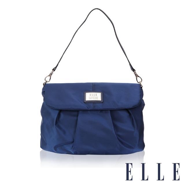 【ELLE】法式優雅時尚風貌百褶側包淑媛 搭配質感頭層皮手提/肩背包(寶藍EL83463B-08)