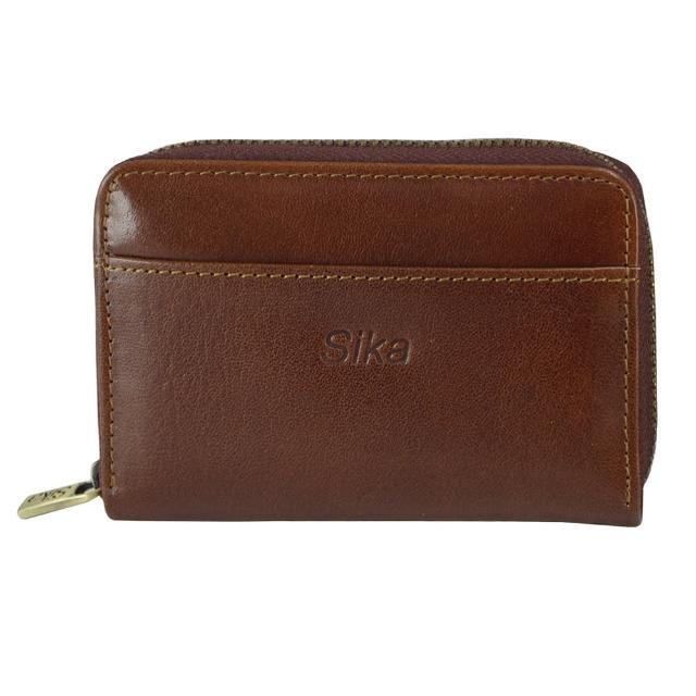 【Sika】義大利時尚真皮拉鍊小皮夾(A8274-02深咖啡)