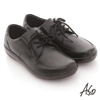 【A.S.O】學生鞋款 全真皮素面綁帶氣墊鞋(黑)
