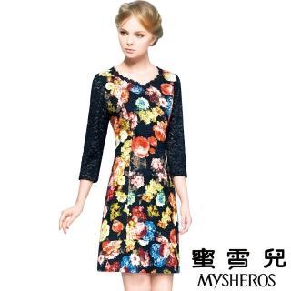 【蜜雪兒mysheros】小V蕾絲花朵洋裝宴會裝(黑)