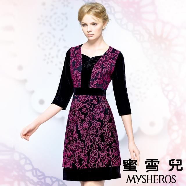 【蜜雪兒mysheros】絲絨玫瑰顯瘦洋裝宴會裝(桃)