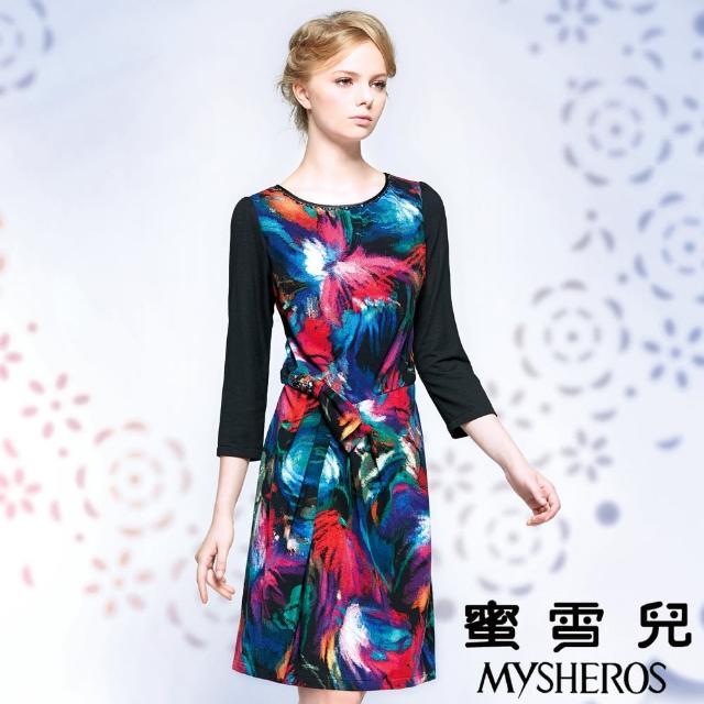 【蜜雪兒mysheros】歐系油畫顯瘦洋裝宴會裝(桃)
