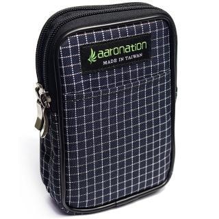 【aaronation 愛倫國度】雙層拉鍊隨身包  台灣製造(AN-2547S-藍白)