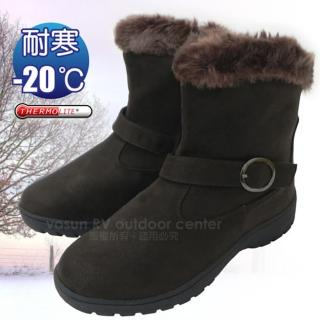 【甜美簡約】女新款 低筒專業保暖雪鞋、雪靴 附冰爪系列-內層保暖刷毛(咖啡 SN211)