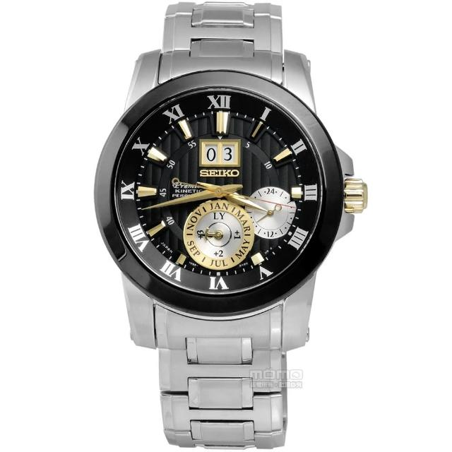 【SEIKO 精工】人動電能萬年曆不鏽鋼腕錶 黑色 41mm(7D56-0AB0E.SNP129J1)