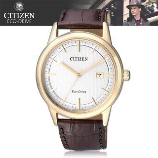 【CITIZEN 日系星辰】光動能 強化玻璃 小牛皮錶帶 男錶(AW1233-01A)