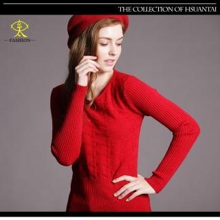 【玄太】高雅百搭幾何織紋針織上衣(紅/米白)