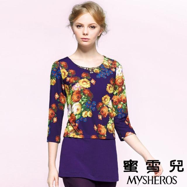 【蜜雪兒mysheros】手工縫珠印花上衣(紫)