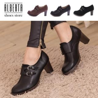 【Alberta】韓版質感皮革 舒適魔鬼氈穿脫 舒適粗高跟 牛津踝靴短靴(咖啡)