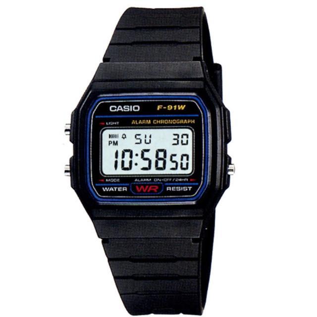 【CASIO】勇者不敗經典運動電子腕錶(F-91W-1A)