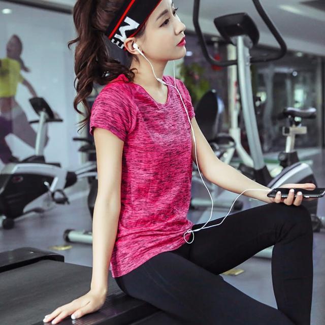 【狐狸姬】短袖T恤專業運動速乾排汗瑜珈服爆彩運動衣-單上衣(S-L)