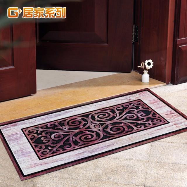 【G+居家】古典雕花橡膠植絨迎賓戶外地墊(迎春納福款)