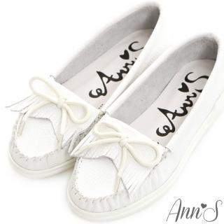 【Ann'S】柔軟全真牛皮流蘇蝴蝶結小白鞋(白)