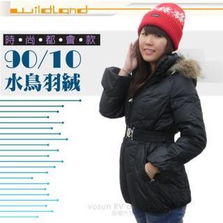 【荒野 wildland】女款 中長版 貉子毛單件式保暖羽絨外套/大衣.保暖外套(92107 黑色)