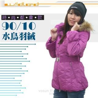 【荒野 wildland】女款 中長版 貉子毛單件式保暖羽絨外套/大衣.保暖外套(92107 桃紅)