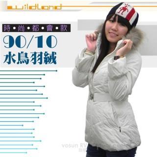 【荒野 wildland】女款 中長版 貉子毛單件式保暖羽絨外套/大衣.保暖外套(92107 米白)