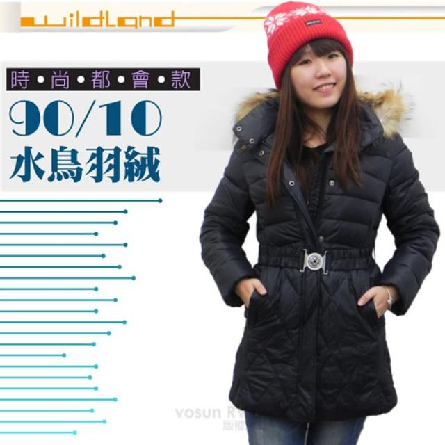 【荒野 wildland】女款 中長版 貉子毛保暖羽絨外套/大衣.保暖外套(92101 黑色)