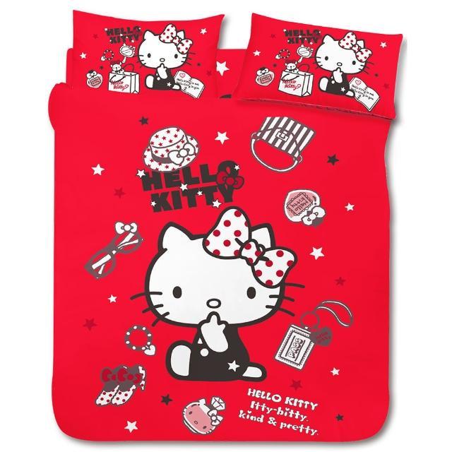 【享夢城堡】HELLO KITTY 時尚寶盒系列-單人三件式床包薄被套組(紅)