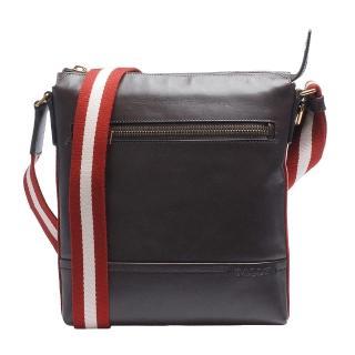 【BALLY】經典雙色織帶小牛皮直立拉鍊斜背郵差包(棕色6202933017-CHOCOLATE)